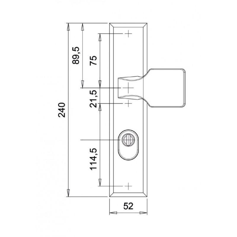 Dieckmann Alpha D7011N knop/kruk technische tekening