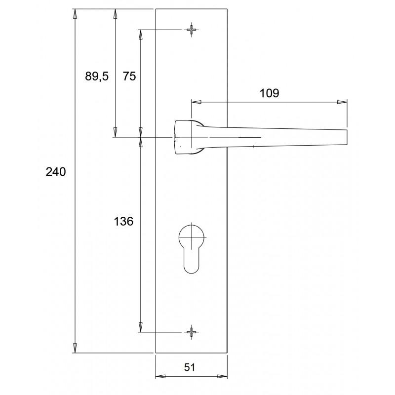 Dieckmann Alpha knop/kruk veiligheidsbeslag D7012 technische tekening