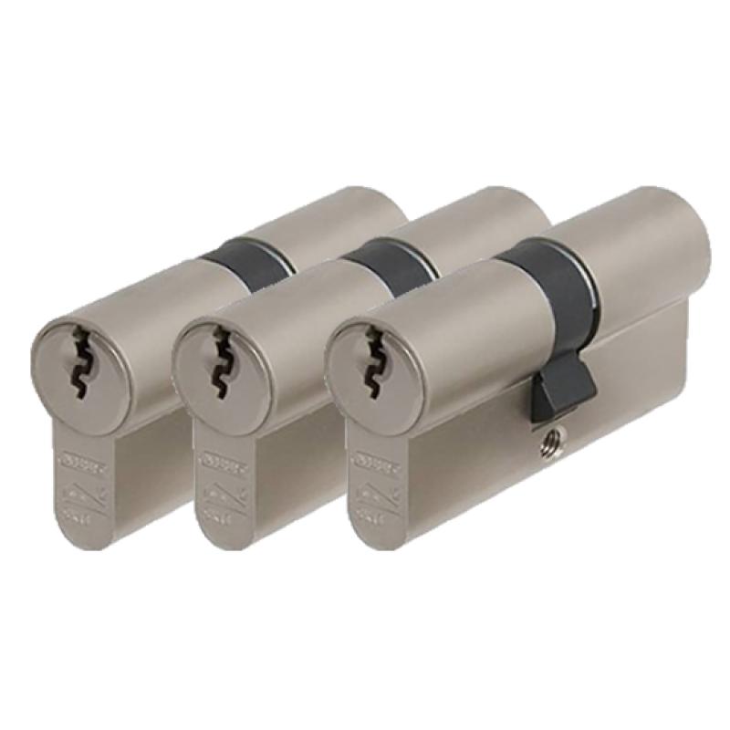 3 gelijksluitende cilindersloten Abus E60 SKG2