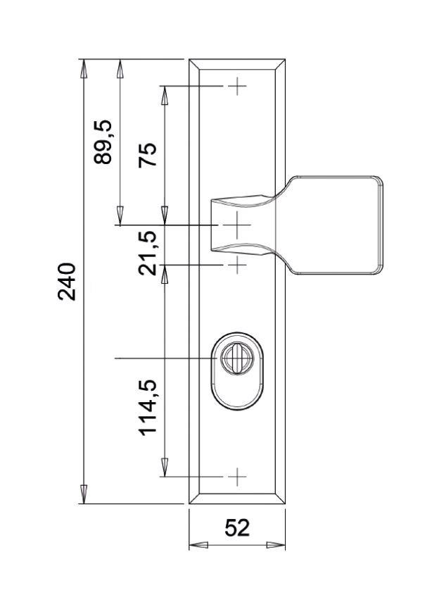 dieckmann alpha knop/kruk D7011N technische tekening